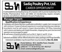 Sadiq Poultry Pvt Limited Jobs 2020