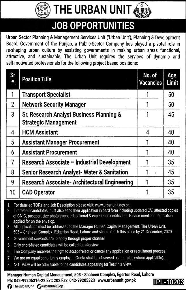 P&D Board Punjab Jobs 2020