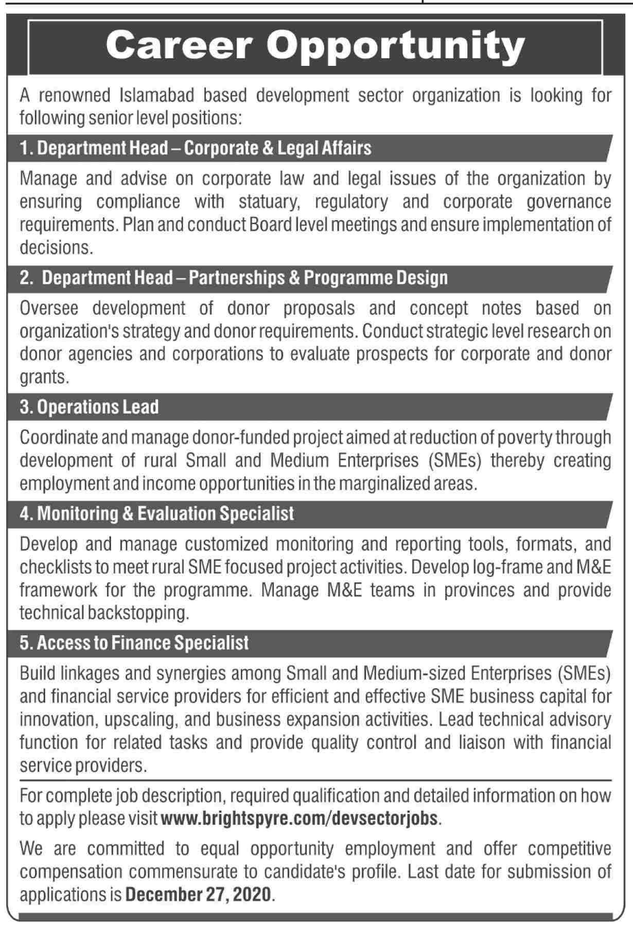 A Renowned Islamabad Based Development Sector Organization Jobs December 2020