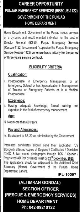 Punjab Emergency Services (Rescue 1122) Jobs December 2020