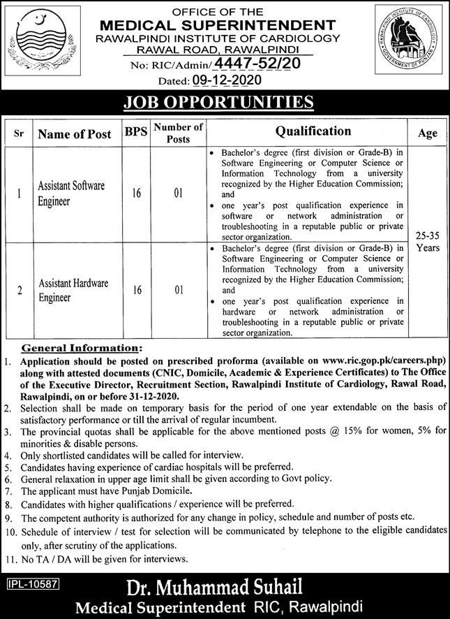 Rawalpindi Institute Of Cardiology RIC Jobs December 2020