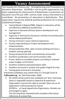 The Society for Community Strengthening and Promotion of Education Balochistan (SCSPEB) Jobs December 2020
