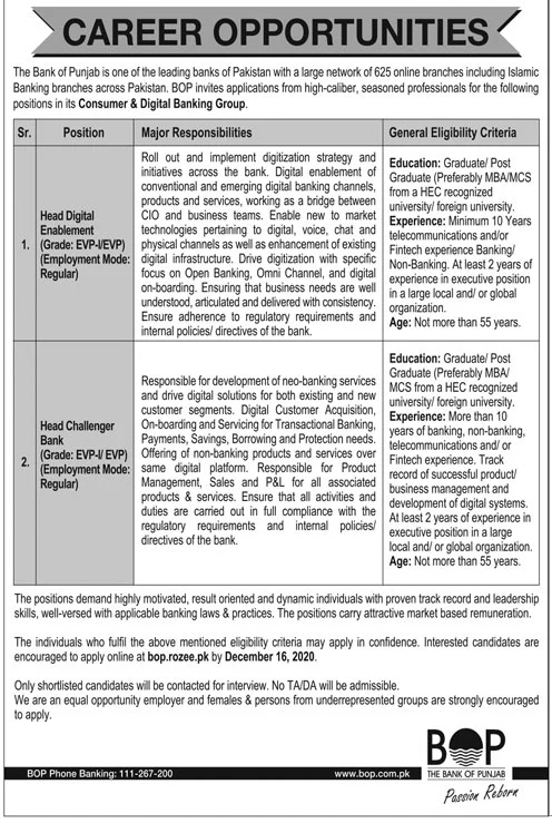 BOP Jobs 2020 in Lahore
