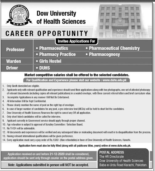 www.duhs.edu.pk Jobs 2020