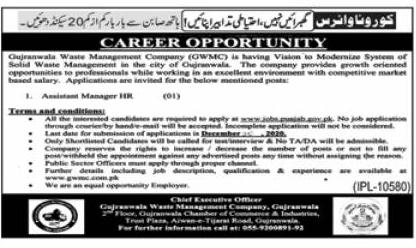 Gujranwala Waste Management Company GWMC Jobs December 2020