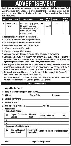 Join Pak Army LDC Jobs 2020