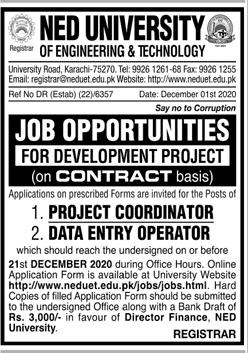 NED University Jobs 2020