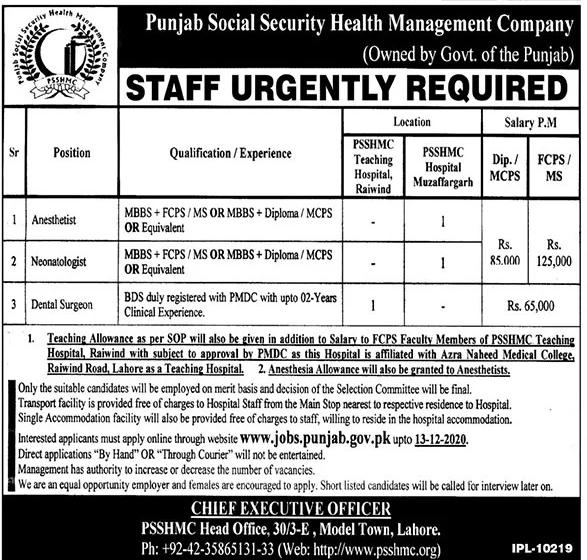 PSSHMC Jobs 2020 in Lahore