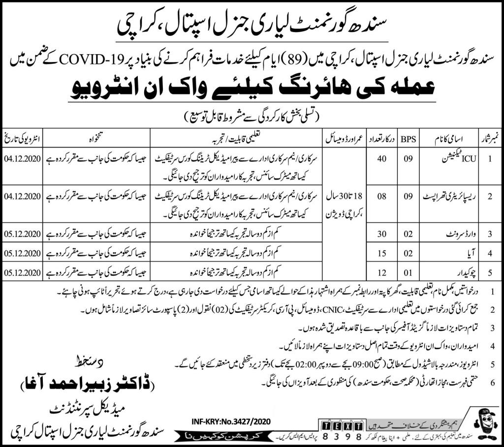 Sindh Government Lyari General Hospital Jobs 2020