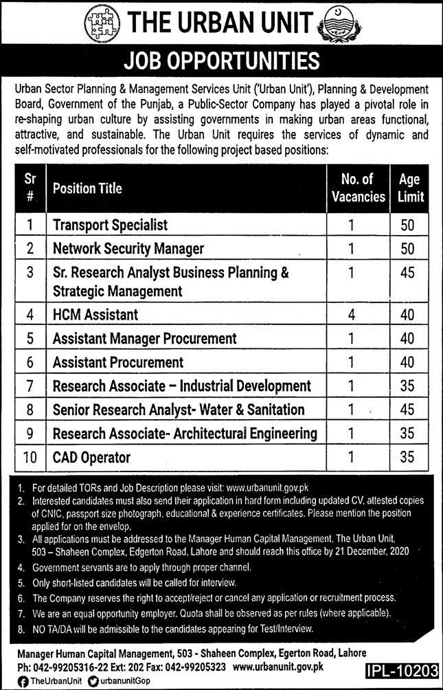 P&D Board Punjab Jobs 2020