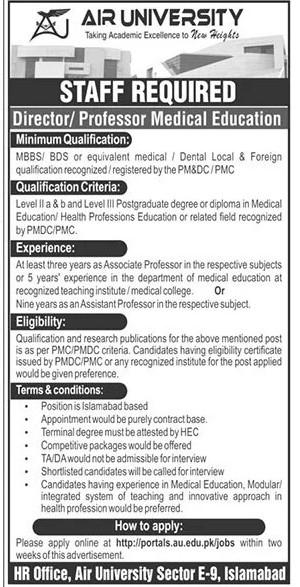 Air University Islamabad Jobs June 2021