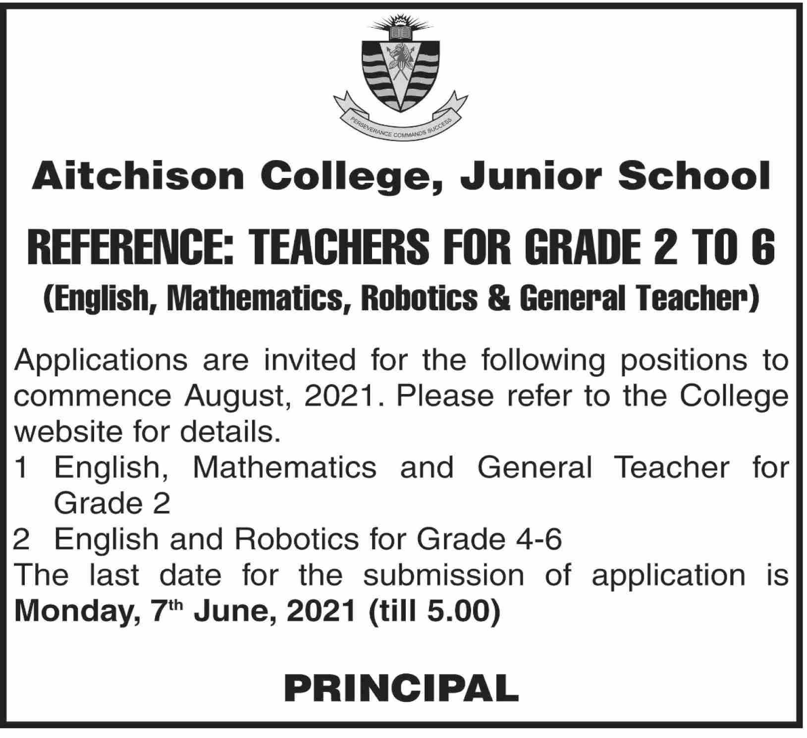 Aitchison College Junior School Jobs June 2021