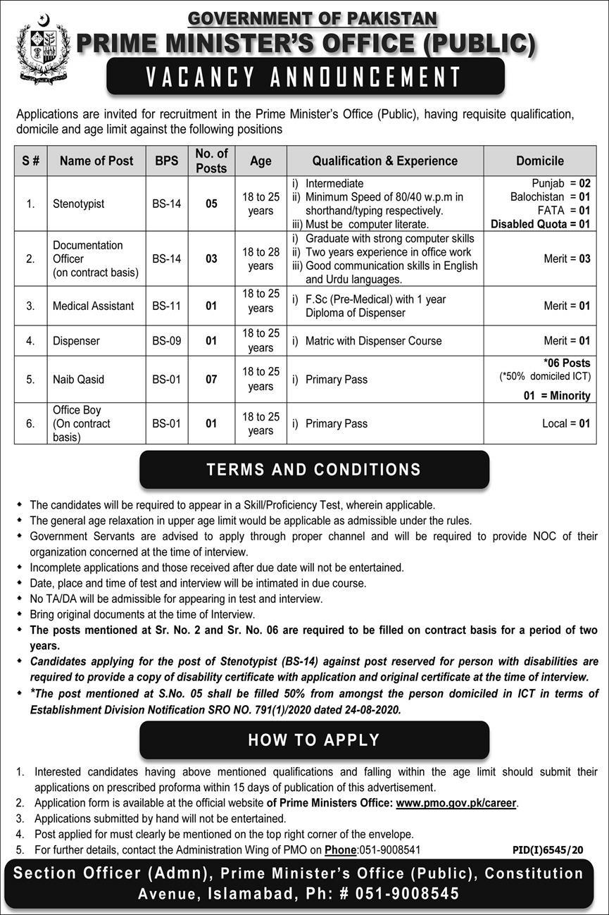 Prime Minister Office (Public) Islamabad Jobs June 2021