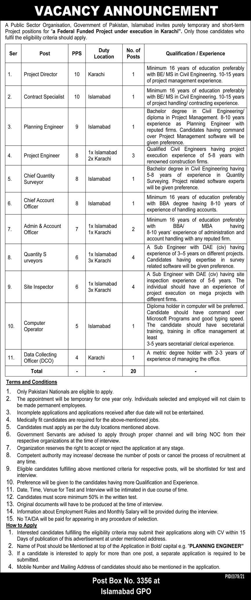 Public Sector Organization PO Box 3356 Islamabad Jobs July 2021