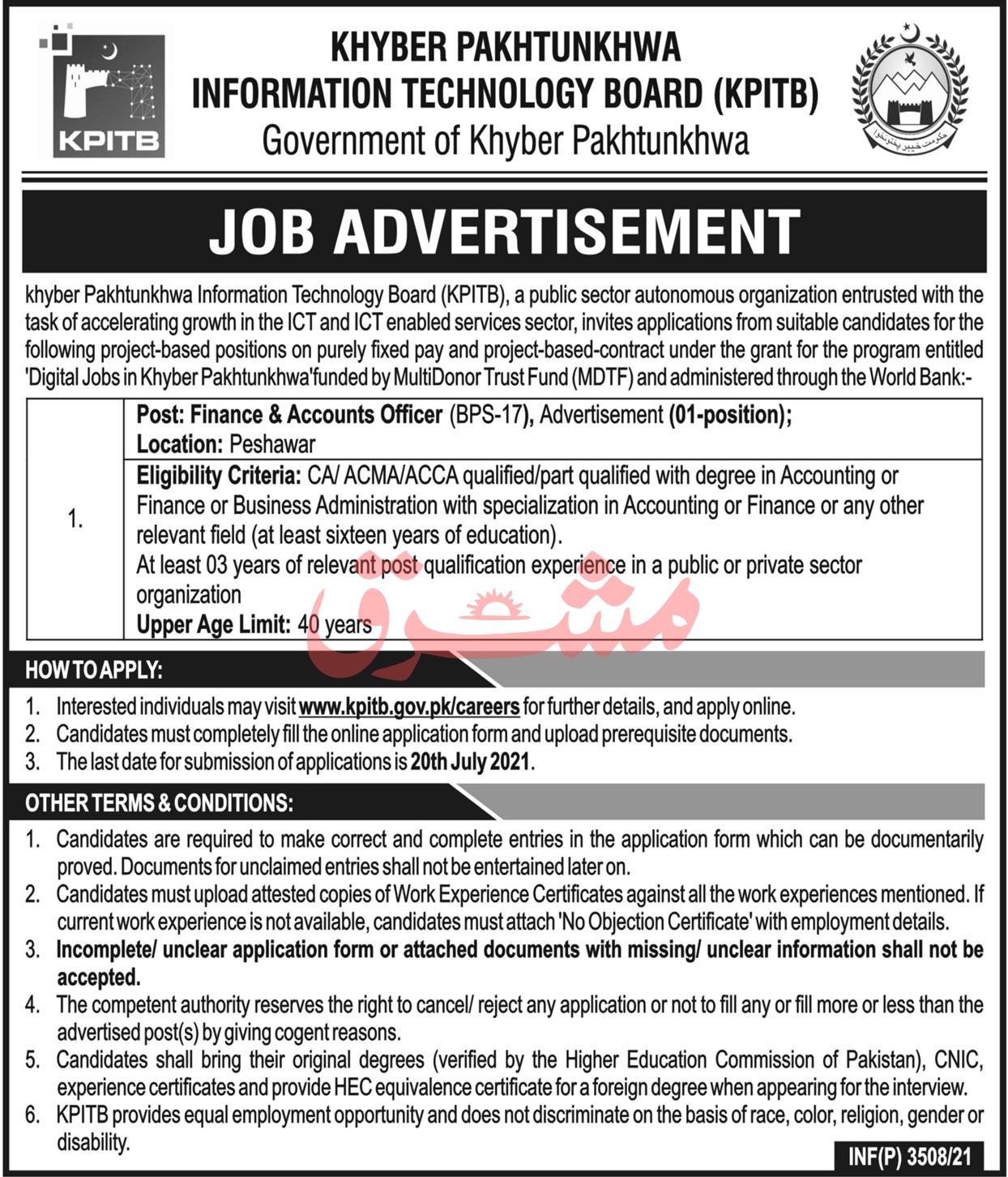 KPITB Jobs July 2021