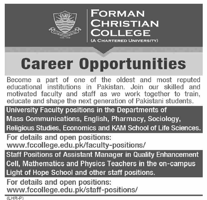 Forman Christian FC College Lahore Jobs 2021