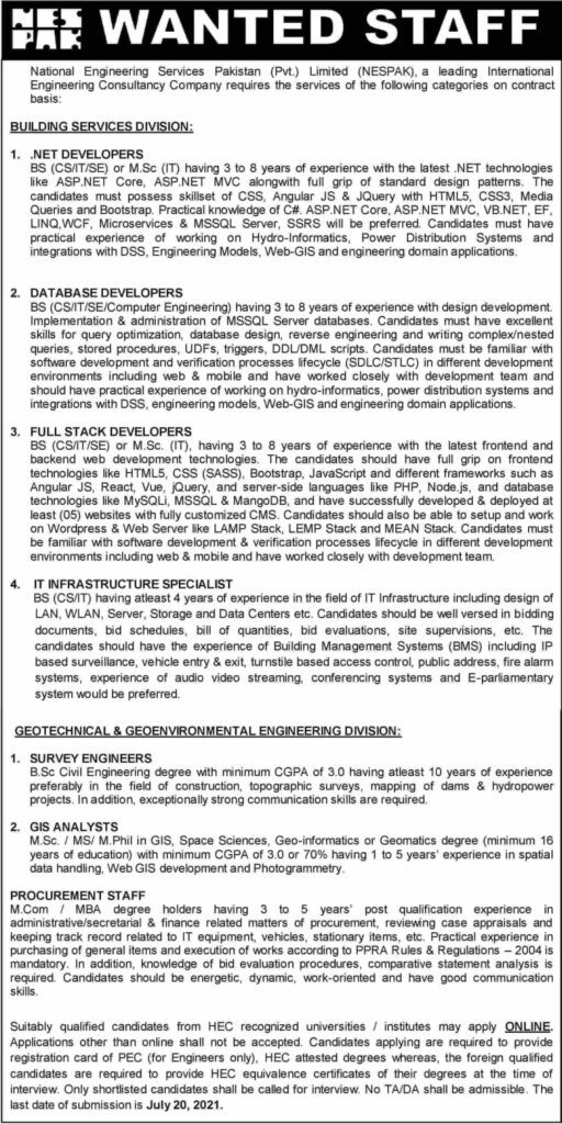 NESPAK Islamabad Jobs 2021